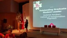 "Andisheh Ranjbari receiving the ""Outstanding Student Leader Award."""
