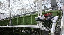 Three hill slopes, each contained in steel housing at Biosphere 2, are collectively known as the Landscape Evolution Observatory. Photo by Bob Demers/UANews.