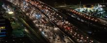 Traffic jam on a highway at night