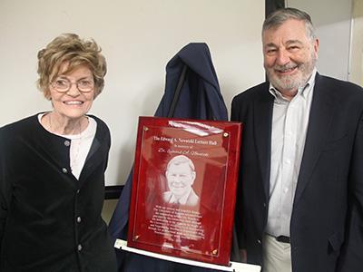 Patricia Nowatzki with former department head Juan B. Valdes at the Nowatzki Lecture Hall dedication