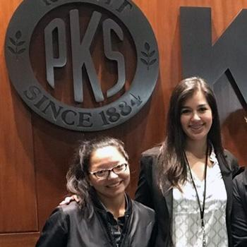 Rosa Juvera and Lissette Flores at Kiewit's headquarters