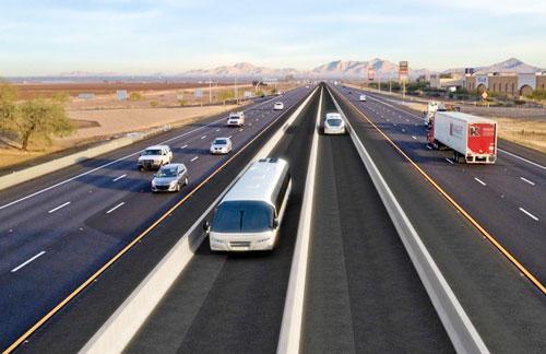 Rendering of proposed High-Speed Bus Transit (Norris Design).