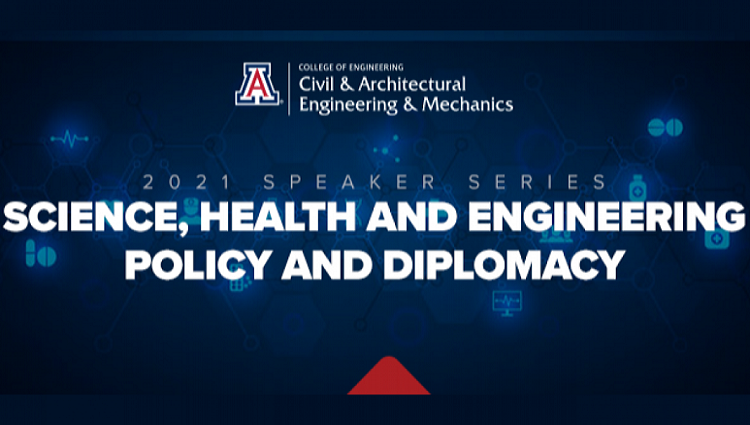 Graphic with a blue background and white text. The CAEM logo is at the top, followed by this text: 2021 Speaker Series: Science, Health and Engineering Policy and Diplomacy.
