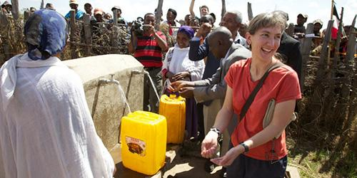 Marla Smith-Nilson at work with Water 1st International; image courtesy of the World Affairs Council